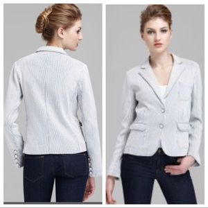 Marc Jacobs cotton blue and white knit blazer